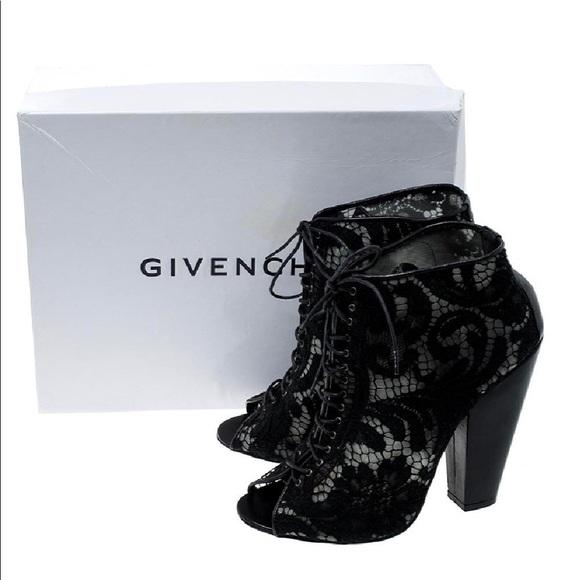 fb3cb6de1b9 Givenchy Black Lace Peep-Toe Ankle Booties